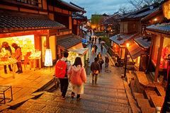 Tourists walk on a street leading to Kiyomizu Temple Royalty Free Stock Image