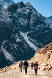 Tourists walk to black mountain with snow on the top and yellow stone ground at Thangu and Chopta valley in winter in Lachen. Royalty Free Stock Photo