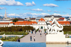 Tourists walk to Lower Belvedere Palaces, Vienna Royalty Free Stock Photos