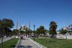 Tourists walk towards  Sultan Ahmet Camii Royalty Free Stock Photo