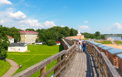 Tourists walk on the walls of the Kremlin in Novgorod the Great Stock Photos