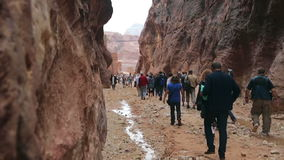 Tourists walking along the canyon in Petra. Petra, Jordan - October 26, 2015: Tourists walking along the canyon in Petra. View of the city of Petra in Jordan stock video footage