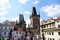 Tourists walking along Charles Bridge in Prague,Czech Republic Royalty Free Stock Image