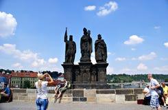 Tourists walking along Charles Bridge in Prague,Czech Republic Royalty Free Stock Photography