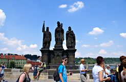 Tourists walking along Charles Bridge in Prague,Czech Republic Stock Image