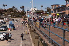Santa Monica Pier, pedestrian bridge, sunny day Royalty Free Stock Images
