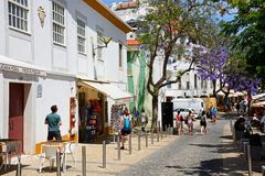 Shopping street, Lagos, Portugal. Royalty Free Stock Photography
