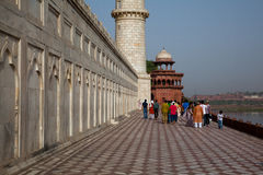 Tourists walking around the base of the Taj Mahal Royalty Free Stock Photos