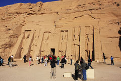 Tourists walking around Nefertari Temple, Abu Simbel, Nubia Royalty Free Stock Image