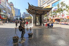 Tourists walking in the city center of Kunming in China Royalty Free Stock Image