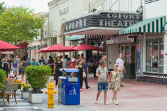 Tourists walking by the Colony Theatre at   Lincoln Road in Miam Stock Photo
