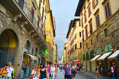 Tourists walking in crowded street in Florence Royalty Free Stock Photo