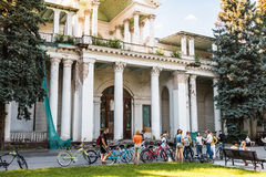 Tourists walking and cycling in the Exhibition of Economic Achie Stock Photography