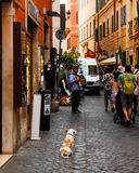 Tourists walking down a street in Rome, Italy. Royalty Free Stock Photo