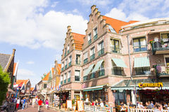 Tourists walking down the streets of Volendam, The Netherlands Royalty Free Stock Image