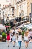 Tourists Walking Downtown Bucharest Royalty Free Stock Photos