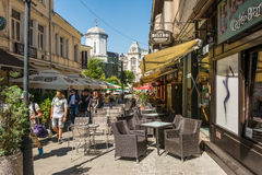 Tourists Walking Downtown Lipscani Street Royalty Free Stock Images