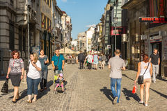 Tourists Walking Downtown Lipscani Street Royalty Free Stock Photo