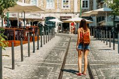 Tourists Walking Downtown Lisbon City In Portugal Royalty Free Stock Photos