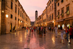 Tourists walking on the famous Placa street at Dubrovnik Stock Photos