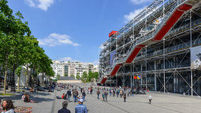 Tourists walking in front of the Centre Georges Pompidou. Royalty Free Stock Photography