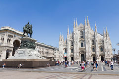 Tourists walking in front of the Duomo in Milan Royalty Free Stock Photo