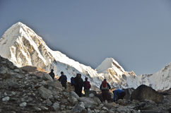 Tourists walking in the Himalayas Stock Images