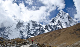 Tourists walking in the Himalayas royalty free stock photos
