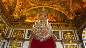 Tourists walking inside The Palace of Versailles stock video footage