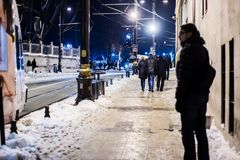 Tourists walking on Istanbul streets after snow storm Stock Photos