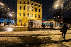 Tourists walking on Istanbul streets after snow storm Royalty Free Stock Photo