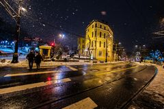 Tourists walking on Istanbul streets after snow storm Royalty Free Stock Image