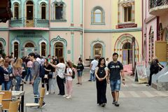 Tourists are walking in Izmailovo Kremlin in Moscow royalty free stock photo
