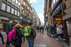 Tourists walking on Kalverstraat - main shopping street of Amsterdam Stock Image