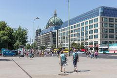 Tourists walking in in the Karl Liebknecht Strasse near the Berliner Dom in Berlin, Germany Stock Images