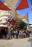 Tourists walking in Laiki Geitonia neighborhood in Nicosia, Cyprus. NICOSIA, CYPRUS - JANUARY 14, 2018: Tourists walking in Ledra street with cafes, bars stock photos