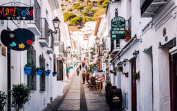 Tourists walking in Mijas street Stock Photography