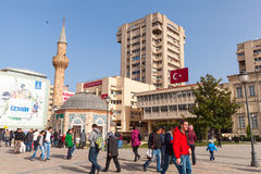 Tourists walking near ancient Camii mosque in Izmir Royalty Free Stock Photography
