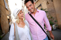 Tourists walking in old street of Rome Royalty Free Stock Photography