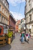 Tourists walking Old town Riga Royalty Free Stock Photo