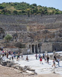 Tourists Walking in and out of Grand Theatre of Ephesus in Summe Royalty Free Stock Images