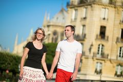 Tourists walking in Paris on a summer day Stock Images