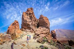 Rock formations and Pico del Teide volcano royalty free stock photography
