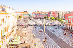 Tourists walking in the Place Massena in Nice Stock Photography