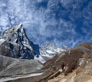 Road to Everest Base camp in Sagarmatha National Park, Nepal. Tourists walking on the road to Everest Base camp in Sagarmatha National Park, Nepal Himalaya Royalty Free Stock Photo