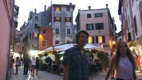 Tourists walking in Rovinj stock video footage