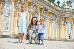 Tourists walking in Sans Souci. Tourists. Beautiful mother and her child walking in Sans Souci Stock Images