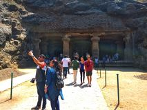 Tourists are Walking and Seeing The Beauty the Elephanta Cage royalty free stock photos