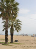 Tourists walking and sunbathing on the beach Stock Photo