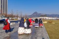 Tourists walking to Gyeongbok Palace,Seoul. Dec 6,2017 Tourists walking to Gyeongbok Palace, Seoul, Korea Royalty Free Stock Photography